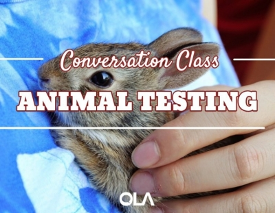 Clase de conversación sobre las pruebas en animales