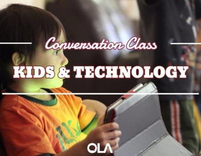 Clase de conversación sobre los niños y la tecnología